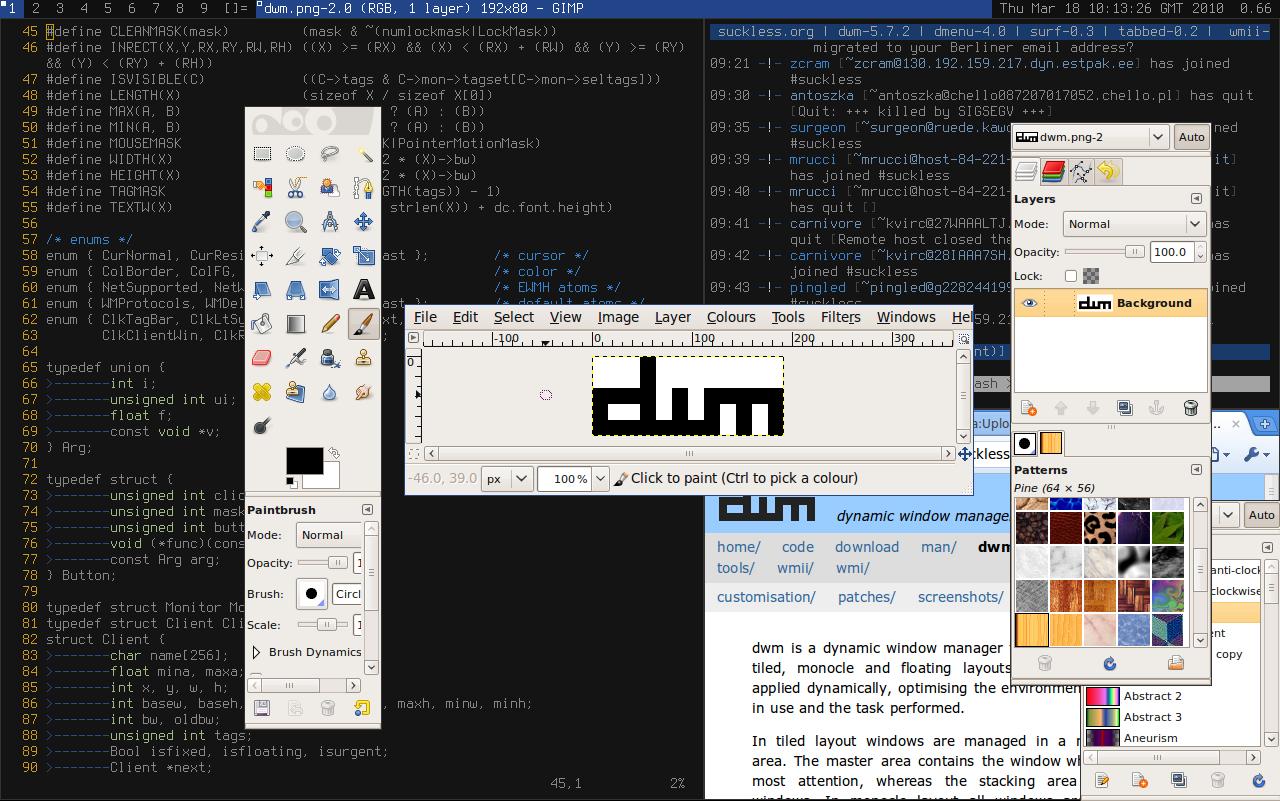 Tampilan desktop dwm