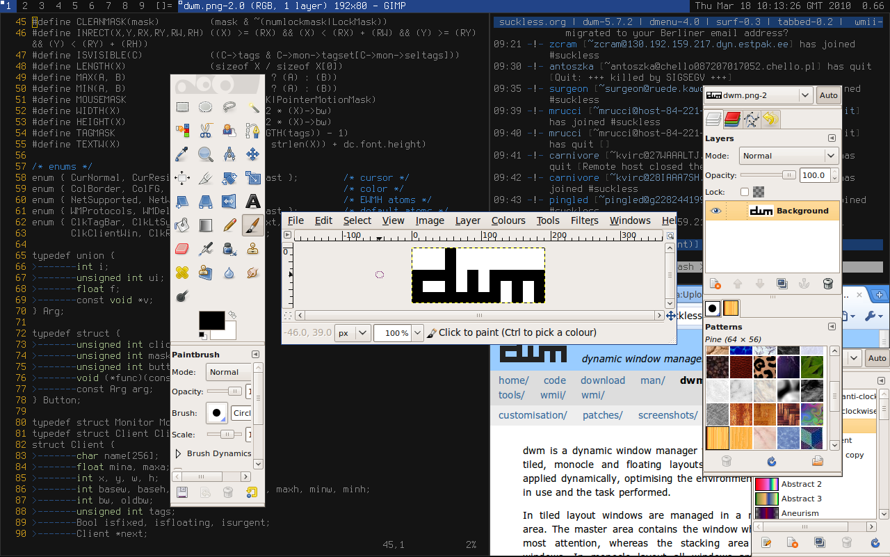 dwm - dynamic window manager | suckless org software that sucks less